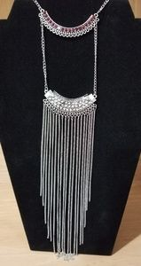 NWT Paparazzi Silver with Red Rhinestone Necklace